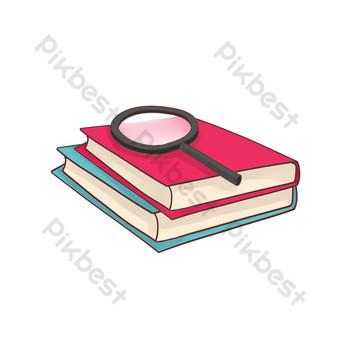 新鮮實用的書本放大鏡文具圖案 元素 模板 PSD