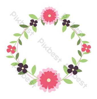 frontera de flores frescas y simples Elementos graficos Modelo AI