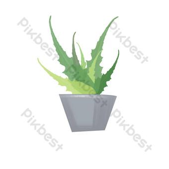 planta en maceta de aloe fresca y simple pintada a mano Elementos graficos Modelo PSD