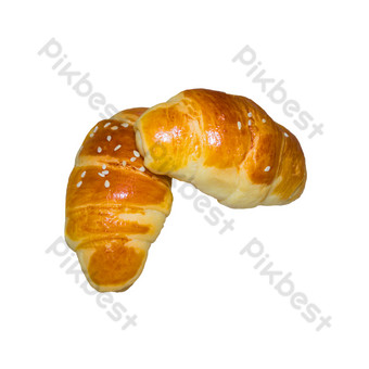 Fresh croissant with sesame seeds PNG Images Template RAW