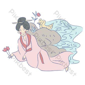 新鮮手繪中國風古代女孩午睡漫畫 元素 模板 PSD