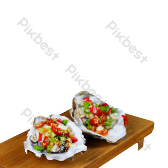 Fresh seafood with garlic oysters PNG Images Template RAW