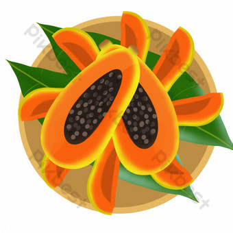 Fruit fruit melon papaya seed compote PNG Images Template PSD