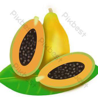 Fruit fruit melon papaya seed open scoop PNG Images Template PSD