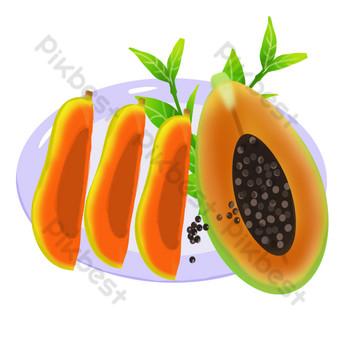 Fruit fruit melon papaya seed pedicel short PNG Images Template PSD