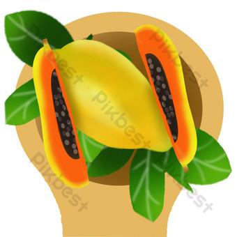 Fruit fruit melon papaya seed scoop PNG Images Template PSD