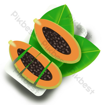 Fruit fruit melon papaya seed two leaves undercut PNG Images Template PSD