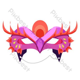 紫紅色舞會面具 元素 模板 PSD