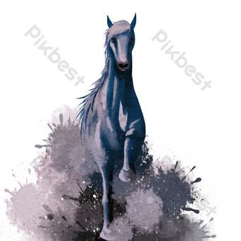 舞動的馬水彩 元素 模板 PSD