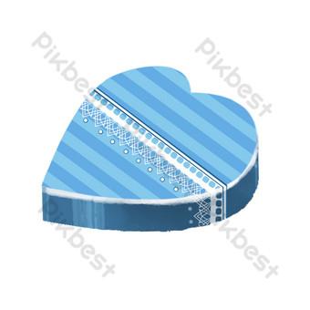 هدية مربع على شكل قلب العنصر التجاري الأزرق صور PNG قالب PSD