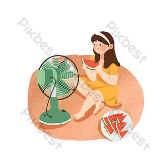 gadis meniup kipas angin listrik makan semangka png Elemen Grafis Templat PSD