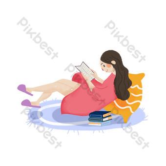 Fille couchée sur une couverture en lisant un livre Éléments graphiques Modèle PSD