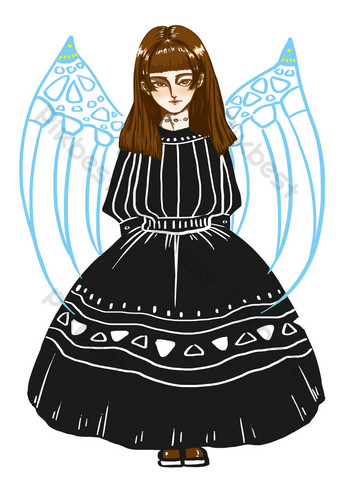 día de la niña hermoso vestido negro calavera alas diosa dibujos animados dibujados a mano Elementos graficos Modelo PSD