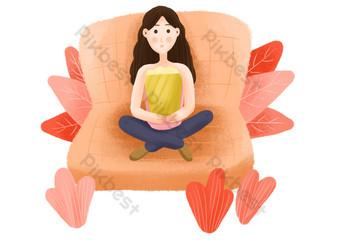 niña sentada en una película viendo dibujos animados estilo fresco Elementos graficos Modelo PSD