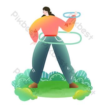 الفتاة ذات الحياة الرياضية تدور حولا هوب صور PNG قالب PSD