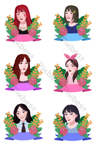 Girls' Day Fashion Female Characters Hand-Drawn Collection PNG Images Template PSD