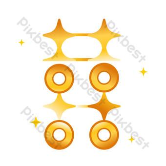 Pièces d'or étoiles vecteur mariage mots heureux Éléments graphiques Modèle AI