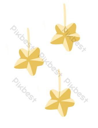 裝飾挂件的金色五角星插圖 元素 模板 PSD