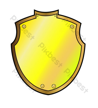 Golden protection security shield PNG Images Template PSD