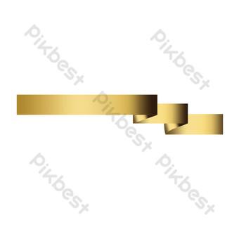 Ruban d'or mots universels dessinés à la main Éléments graphiques Modèle PSD