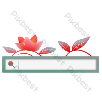 Gradient flower paper cut style search box PNG Images Template PSD