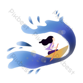 Gradient wind blue sea rowing sport hand drawn PNG Images Template PSD