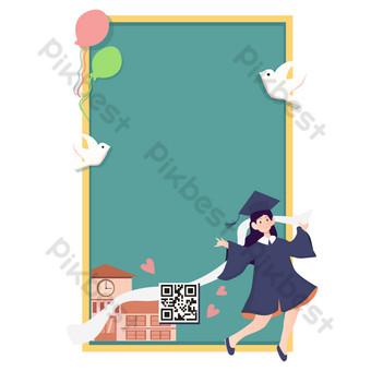 Graduation season border vector PNG Images Template AI