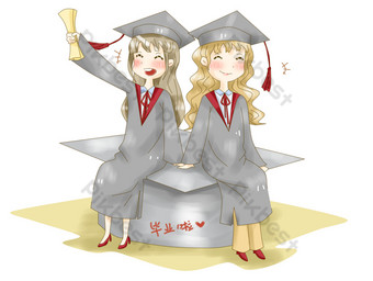 Graduation season graduation college students happy group photo nostalgic illustration PNG Images Template PSD