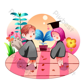 Graduation season pink cartoon men and women confession PNG Images Template PSD