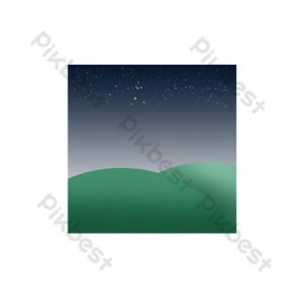 Prairie, mot commun, ciel étoilé Éléments graphiques Modèle PSD