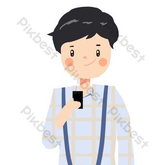 صبي لطيف رمادي في الملابس صور PNG قالب PSD