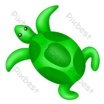 tortuga marina verde de dibujos animados Elementos graficos Modelo PSD