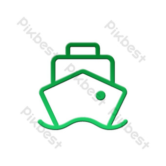 barco lineal de icono de seguridad de tráfico degradado plano verde Elementos graficos Modelo PSD