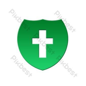 ambulancia médica icono de seguridad de tráfico degradado plano verde Elementos graficos Modelo PSD