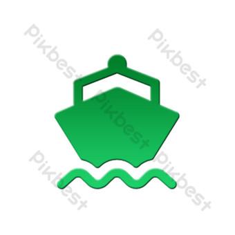 icono de seguridad de tráfico degradado plano verde envío de barco Elementos graficos Modelo PSD