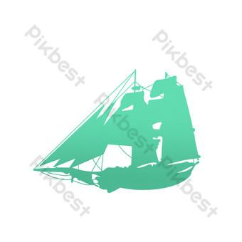التدرج الأخضر قماش صورة ظلية قارب صور PNG قالب PSD