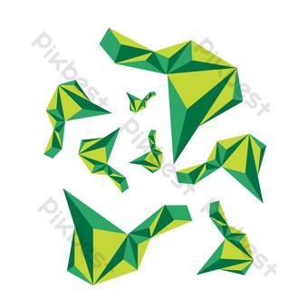 costura flotante de gráficos tridimensionales geométricos irregulares verdes Elementos graficos Modelo AI