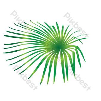 عنصر تصميم الورقة الخضراء عنصر نمط الزخرفية ناقلات صور PNG قالب AI