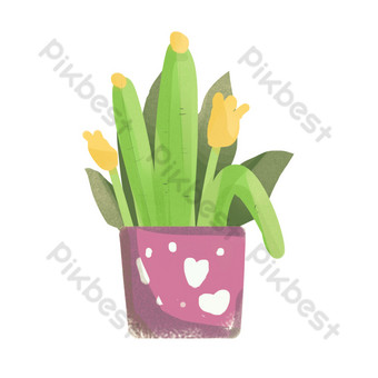 maceta de flores de amor de hoja verde Elementos graficos Modelo PSD
