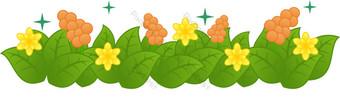 hoja verde flor amarilla uva roja decoracion vector png transparente Elementos graficos Modelo AI