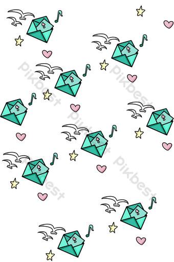 ilustración de sombreado de carta de amor verde Elementos graficos Modelo PSD