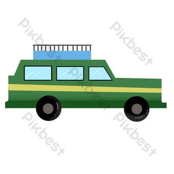 mobil off road hijau Elemen Grafis Templat PSD