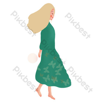 зеленые брюки девушка свободный вырез Графические элементы шаблон PSD