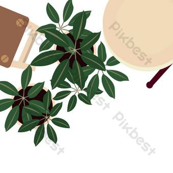 النباتات الخضراء بوعاء الزهور والزهور والعشب الطاولات والكراسي الداخلية صور PNG قالب AI