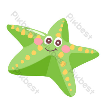 Green sea creature starfish illustration PNG Images Template PSD