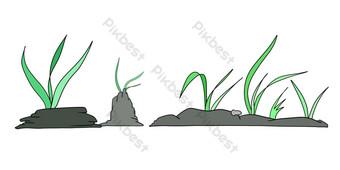 ilustración de línea divisoria de algas verdes Elementos graficos Modelo PSD