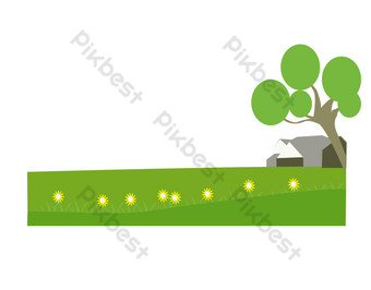 Green secluded lawn illustration PNG Images Template PSD