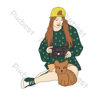 зеленая юбка девочка и щенок свободный вырез Графические элементы шаблон PSD