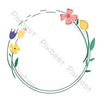 frontera verde pequeña flor simple fresca Elementos graficos Modelo PSD