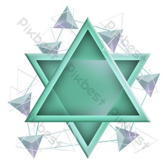 綠色三角形文字框 元素 模板 PSD